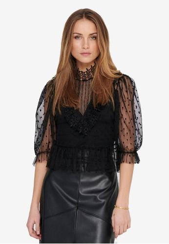 ONLY black Ann 3/4 Lace Top 338D1AA89D0DFAGS_1