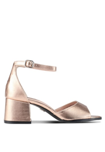 LOST INK gold Blake Ankle Strap Low Block Sandals LO238SH0SZ31MY_1