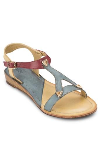雙色鉚釘平底涼鞋zalora 手錶, 女鞋, 鞋