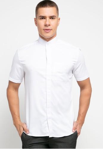 LORIENT white Lorient Short Sleeves Diamond Slim Shanghai Collar 6549CAA6D2D56BGS_1