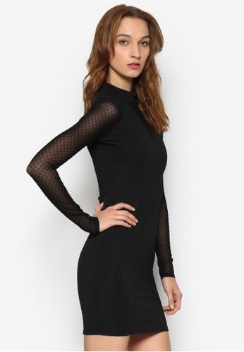 透膚點點拼接貼身esprit outlet 桃園連身裙, 服飾, 洋裝