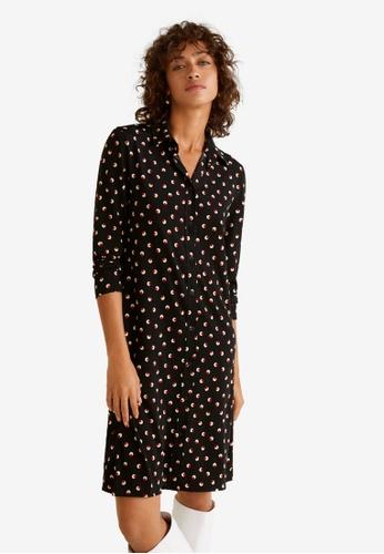 Mango black Flowy Print Dress 8CBC4AA3FBF890GS_1