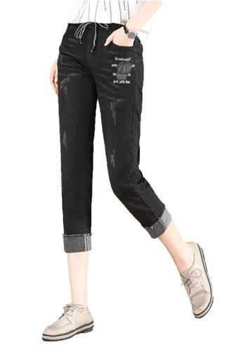 A-IN GIRLS black Elastic Waist Frayed Jeans 41BBBAA4D6DE2DGS_1