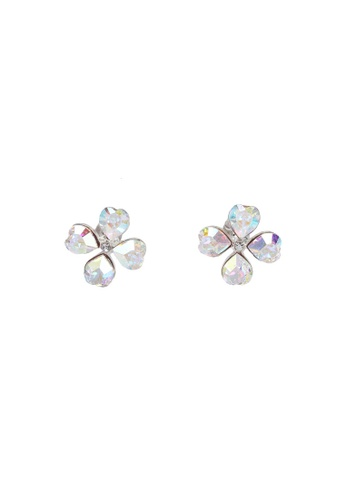 SO SEOUL silver Four Clover Aurore Boreale Swarovski Crystal Earrings 72667ACCC2A8C5GS_1
