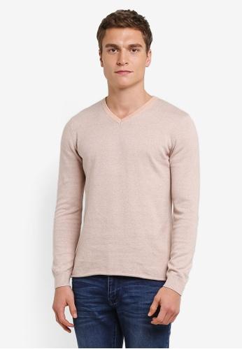 ZALORA 米褐色 V Neck Two Tone Sweater DFAA6ZZE0D7F1DGS_1