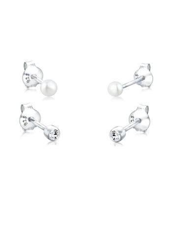 Elli Pierced Earrings Heart 925Sterling Silver Swarovski Crystal DA0U2y4B0