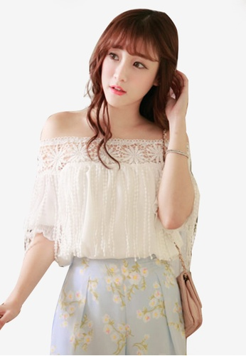 Yoco white Lace Shoulder Top with Tassel Detail 479B9AA74BBBEBGS_1