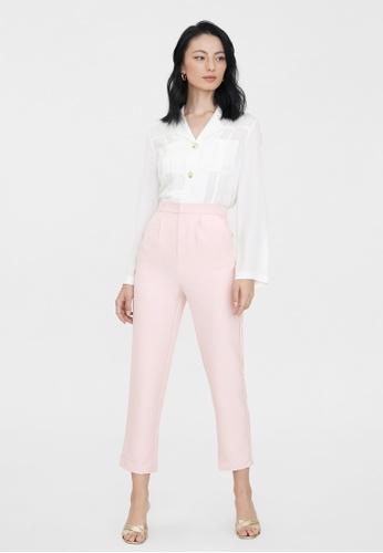 Pomelo pink Elastic Waist Cigarette Pants - Pink DAF4BAA4C720AEGS_1
