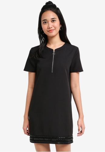 Something Borrowed black Beaded Stripe Shift Dress D7A54AAC6483E6GS_1
