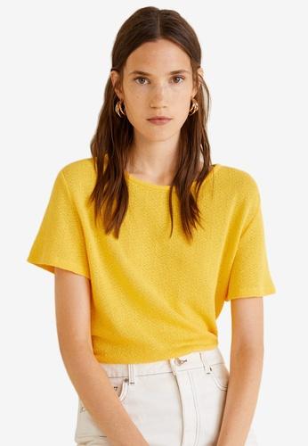 Mango yellow Fine-Knit T-Shirt 711CBAA28F1C12GS_1
