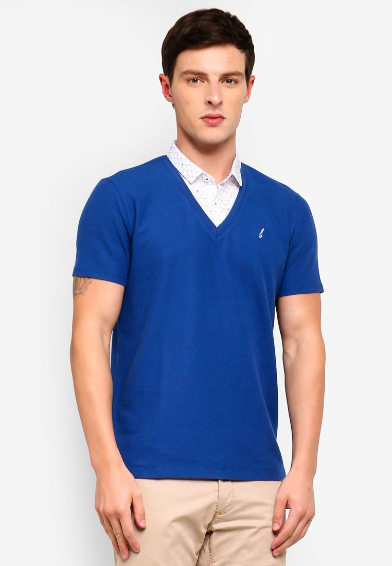 Indigo Polo Shirt In G2000 Mood Collar 1 2 t4Rqw0t