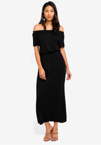 Dorothy Perkins 黑色 Petite Black Bardot Maxi Dress E946DAA8CADAEAGS_1