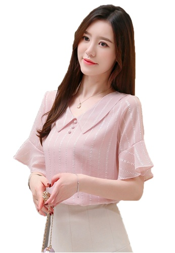Halo pink V Neck Flared Sleeves Top 50024AA27E9524GS_1