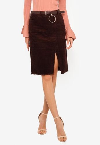 8d094f4846a0 Shop Hopeshow Corduroy Front Slit Short Skirt Online on ZALORA Philippines