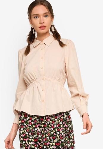 Lubna beige Cotton Gathered Waist Shirt DBA9DAAD3F5029GS_1