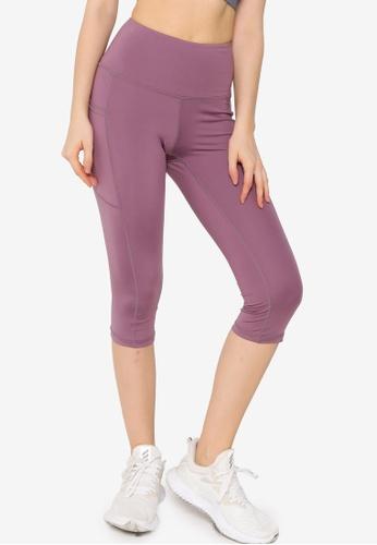 ZALORA ACTIVE 紫色 Yoga Tights With Side Pockets 48C22AA032DAFDGS_1