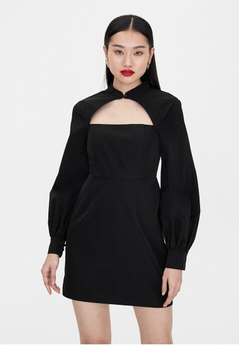 Pomelo black Long Sleeve Cut Out Dress - Black BC1F5AA698200AGS_1