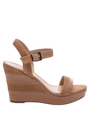 SCHUTZ beige Honey Beige Wedge Sandals - BROOKLYN [HONEY BEIGE] 72669SH7BDE824GS_1