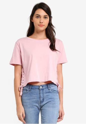 Something Borrowed pink Tie Side Tee 67796ZZCD7808CGS_1