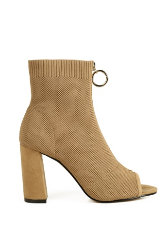 London Rag beige Peep Toe Block Heel Sandal F7606SH38B59E9GS_1