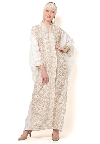 Kanzi by liza yahya white Kanzi Exclusive Long Sleeve Songket Kaftan E8641AA03CE692GS_1