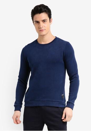 UniqTee 海軍藍色 基本素色長袖棉T A8104AA405453DGS_1