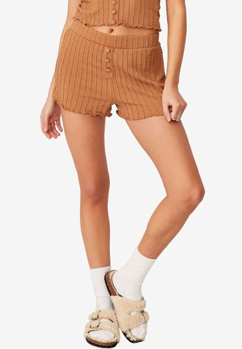 Cotton On Body brown Knit Bed Shorts A31BDAA52C7BF2GS_1