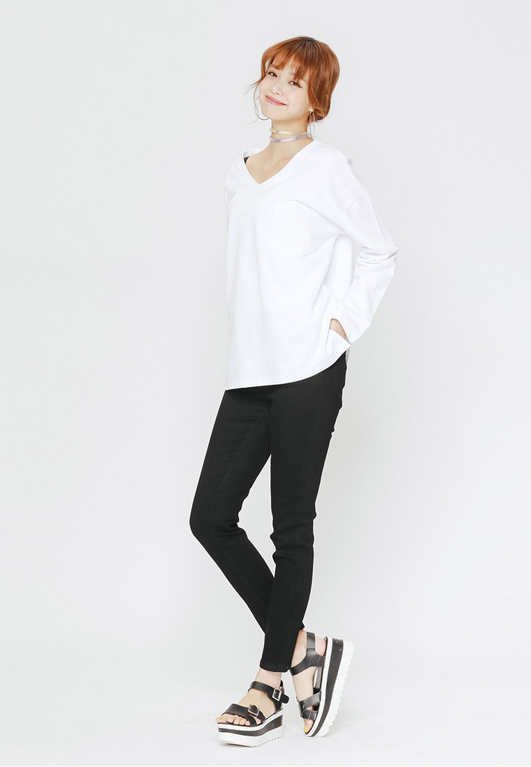 V neck Casual White shirt T H CONNECT gqaAz