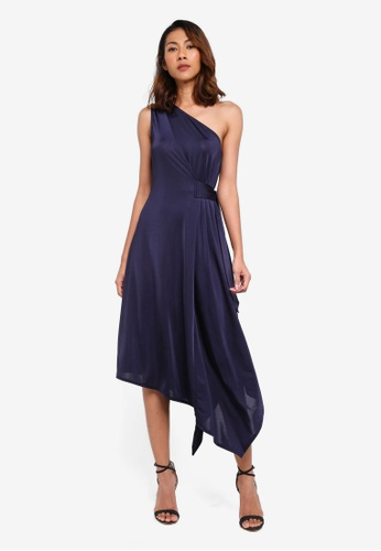WAREHOUSE navy One Shoulder Asymmetric Dress 00419AA2D2D3A8GS_1