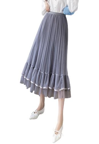 Halo grey Layered Net Yarn Skirt 63CC4AA492A092GS_1