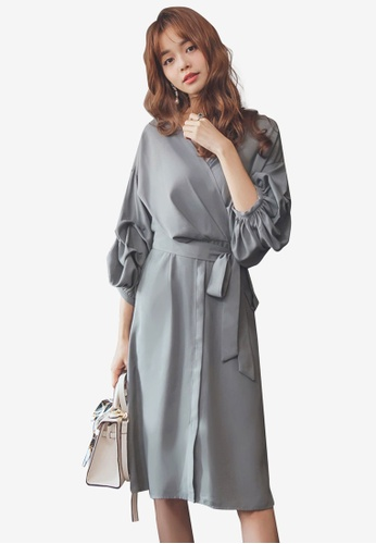Yoco grey Lace Panel Sweater Dress ACFB8AA1CDDE20GS_1