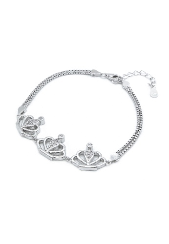 Silverworks silver Crown Charm In Double Box Chain Lucinda Bracelet 6A975ACF2C1519GS_1