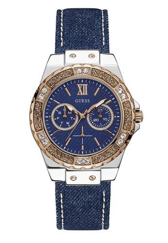 Guess Watch navy Guess Jam Tangan Wanita - Blue Silver Rosegold - Leather Strap - W0775L10  04C8BAC30BC65FGS_1