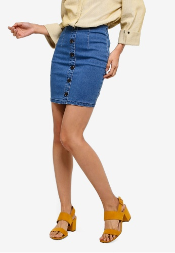ZALORA blue High Waisted Skirt With Button Details 11A1DAA1341BDEGS_1