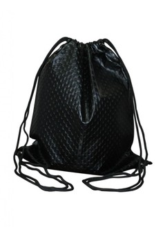 Dotted Leather Drawstring Backpack