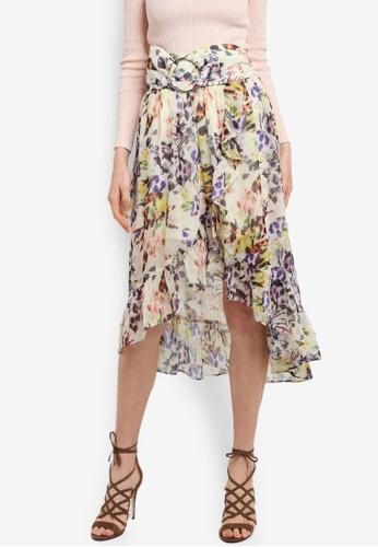 LOST INK multi Flower Leopard Print Wrap Midi Skirt A88A6AAD35472AGS_1