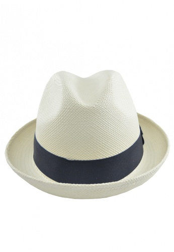 DOSSCAPS grey and white Ecua-Andino Trilby White Panama Hat (Dark Grey Band) DO290AC0S1Y5MY_1