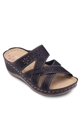 雕花楔形涼鞋, 女鞋, zalora 折扣碼鞋