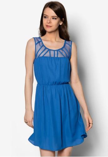網紗拼接褶飾連身裙, 服飾,esprit台灣門市 洋裝