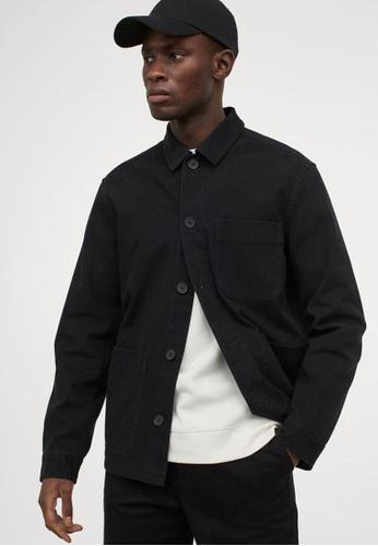 H&M black Regular Fit Shirt Jacket EBBFEAA46EF156GS_1