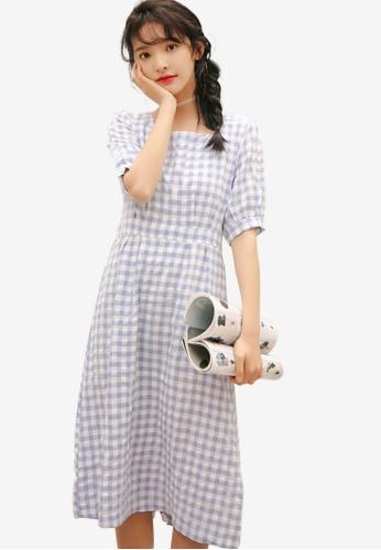Shopsfashion blue Checkered Midi Dress 1BF0BAA57E397FGS_1