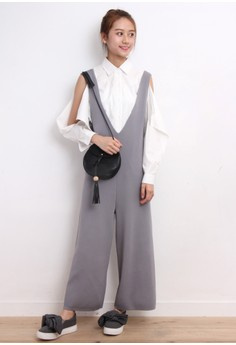 Double V-Neck Knit Overalls