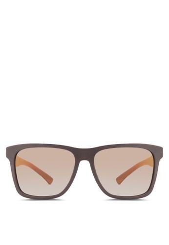 Boss Orange black Modern Squared Rubber Sunglasses BO434GL84HRZMY_1