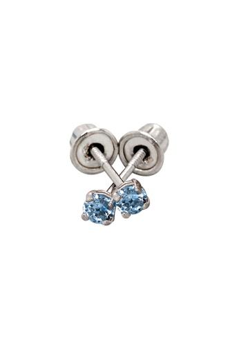 Piccolo Mio white Baby & Kids 14K Gold March Birthstone Earrings - Aquamarine 8AC1CKC33671D9GS_1
