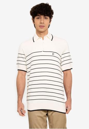 Ben Sherman white Textured Stripe Polo Shirt 06ABBAA3D47C0DGS_1