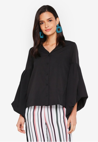 Lubna black Hi Lo Puff Sleeve Top FD986AAF73740DGS_1