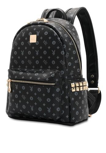 PLAYBOY BUNNY black Studs Monogram Backpack 734EAAC937EF2CGS_1