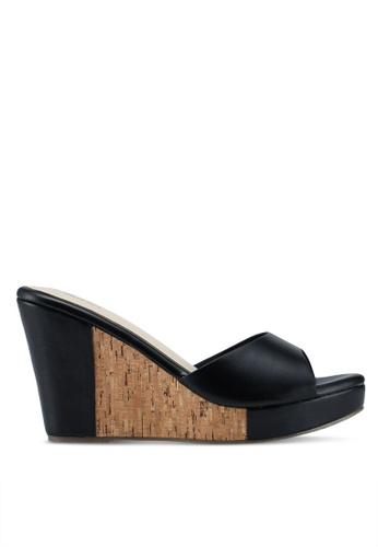 Bata 黑色 軟木拼接楔型鞋 39746SHBEAC714GS_1