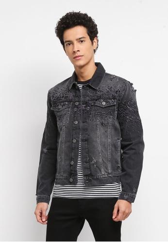 Topman black Leopard Embroidered Denim Jacket 499B5AA46F14A6GS_1