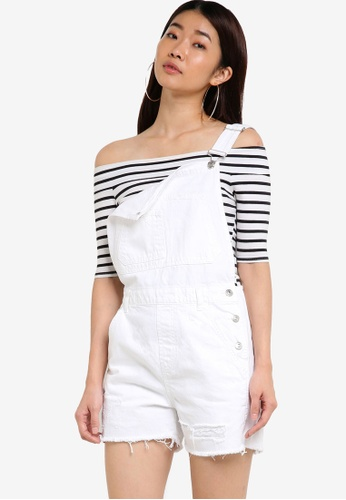 TOPSHOP white Moto Boyfriend Short Dungaree TO412AA29YNMMY_1
